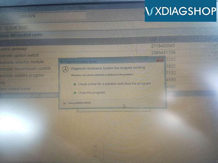 Vxdiag Benz Has Stop Working