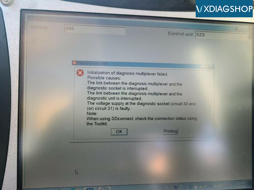 Vxdiag Benz C6 Initialization Of Diagnosis Multiplexer Failed 01