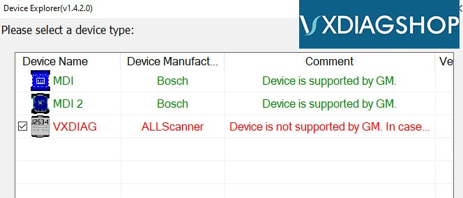 Vxdiag Device Is Not Supported