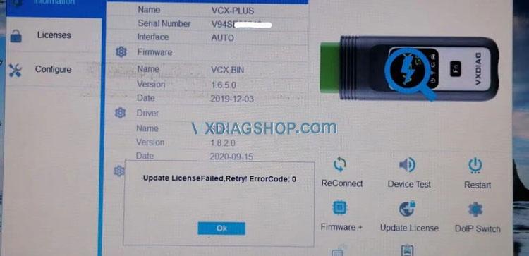 Vxdiag Vcx Se For Bmw Update Licensefailed Solution 01