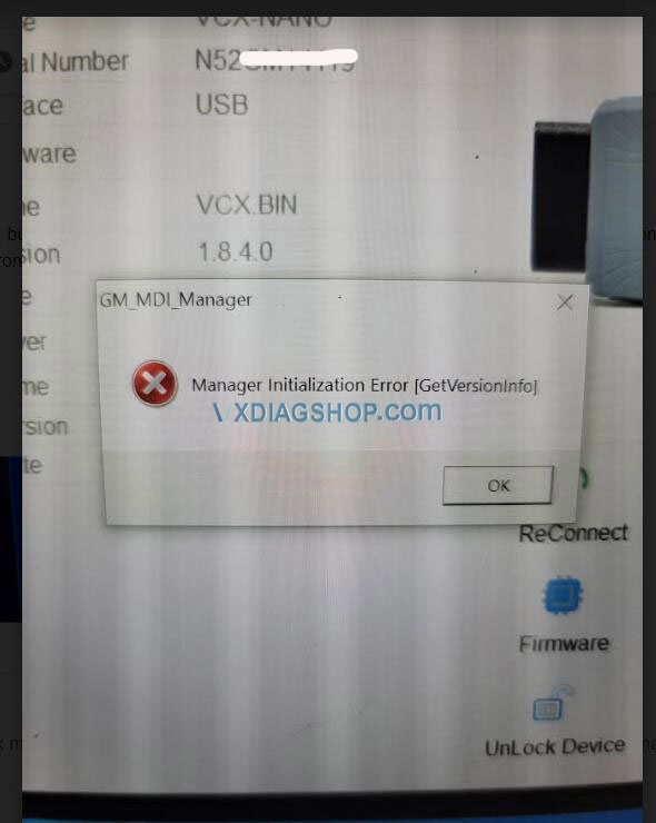 Solved Vxdiag Gm Manager Initialization Error 01