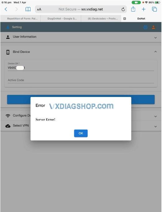 Vxdiag Donet Server Error