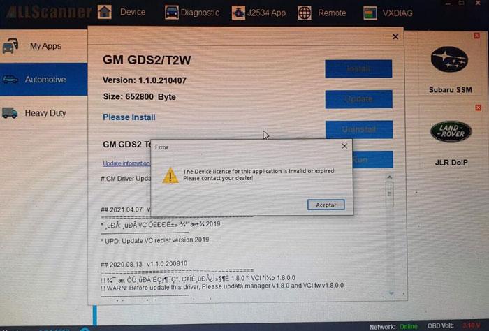 Vxdiag Vcx Pro License Invalid Expired Solution 03