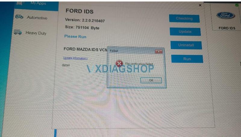"VXDIAG VCX NANO Ford IDS ""File Verification Failed 1"