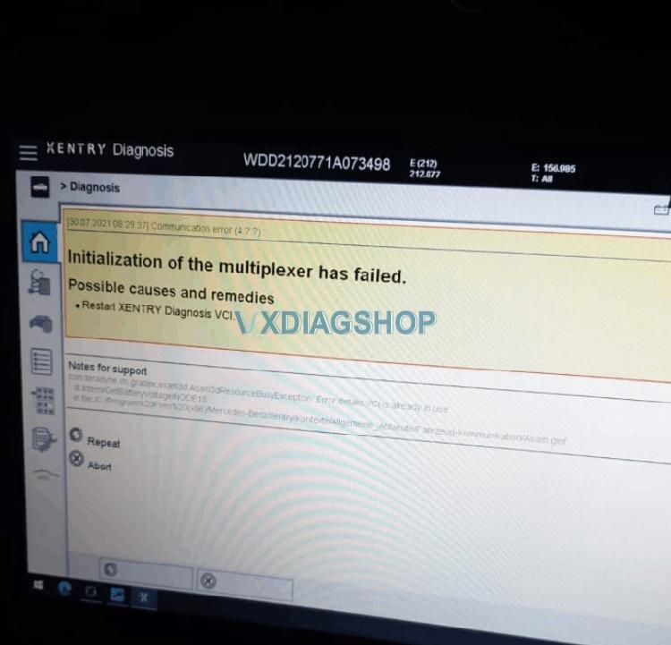Vxdiag Benz C6 Vci Multiplexer Failed